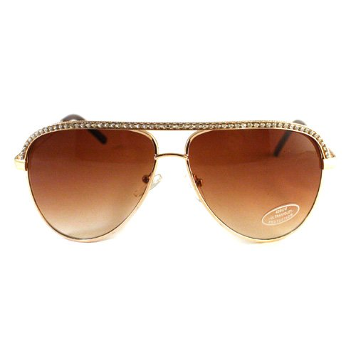 Gold Rhinestone Trimmed Aviator Sunglasses (Trimmed Aviator)