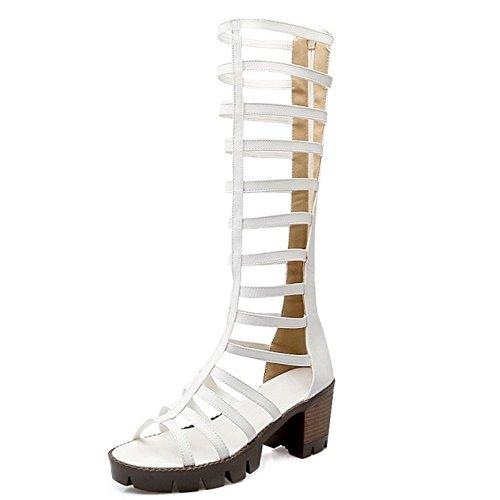 COOLCEPT Mujer Gladiator Chunky Heel Cordones Knee Hight Verano Bootie Sandalias Blanco