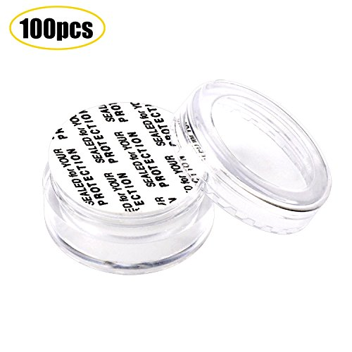 SumDirect 100Pcs 5Gram Empty Clear Plastic Cosmetic Containers Sample Packing Portable Travel Bottle Pot Jars for Cream and Lotion with a Snoop and 10Pcs White Sheer Organza Bags(Clear)