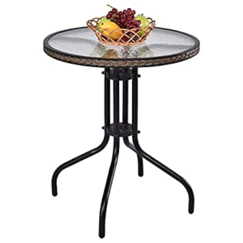 Tangkula 24 Patio Table Garden Yard Outdoor Lawn Indoor Tempered Glass Top Steel Frame Coffee End Side Table Wicker Round