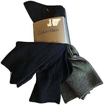 Calvin Klein Men's Dress Socks Ribbed Cotton 4 Pack Navy Blue Grey