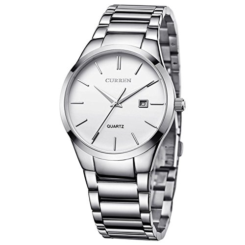 Lava Watches Men's Watches Auto Date Analog Silver Stainless steel Strap Casual Watch by Lava Watches
