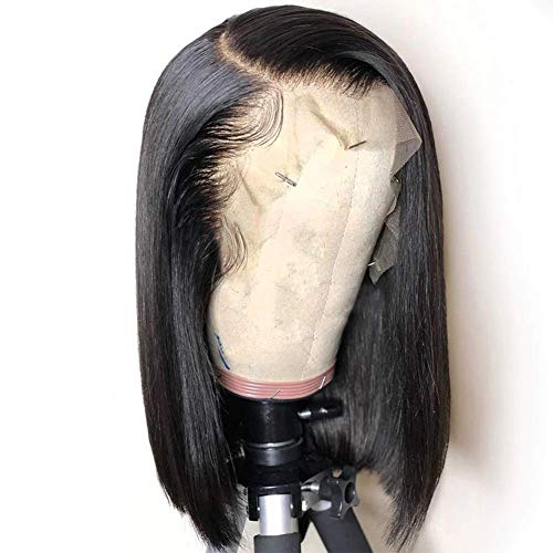 13x6 Straight Lace Front Wig Human Hair, Re4U Hair Black Women Straight Mongolian Virgin Hair Wigs Glueless with Baby Hair with 160% Density 8 inch
