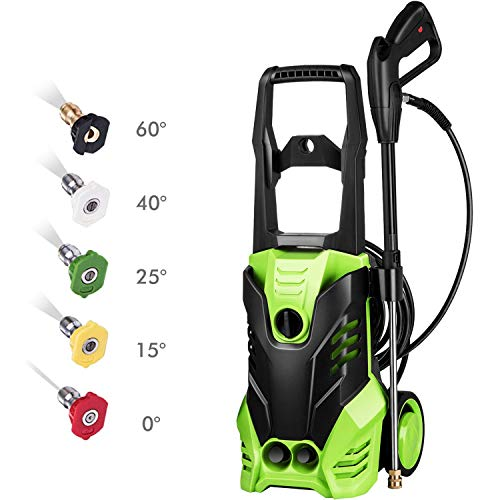 Flagup MEDITOOL 3000 PSI Electric Pressure Washer, High Pressure Washer, Professional Washer Cleaner Machine with 5 Interchangeable Nozzles, 1800W Rolling Wheels,1.80 GPM