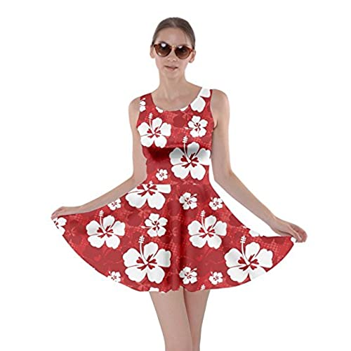 CowCow Red Pattern with Hibiscus Flowers on Red Skater Dress Red-L  sc 1 st  Amazon.com & Lilo and Stitch Costume: Amazon.com