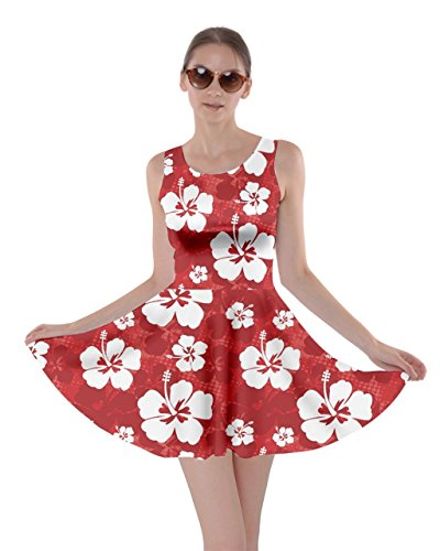 CowCow Red Pattern with Hibiscus Flowers on Red Skater Dress, -