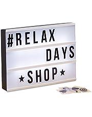 Relaxdays Light Box, Leuchtbox Set mit 85 Zeichen, Buchstaben, LED Leuchtschild, HxBxT: 22 x 30 x 4,5 cm, weiß/schwarz
