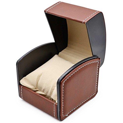 (AVESON Watch Box Holder Organizer, PU Leather Travel Jewelry Bracelet Storage Gift Case Single Grid, Coffee)