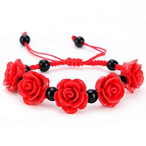 MMYU Bracelet Fashion Delicate Lucky Cinnabar Rose Flower Bracelet Red Rope Chain with Small Black Balls Bracelet Women Girls Jewelry