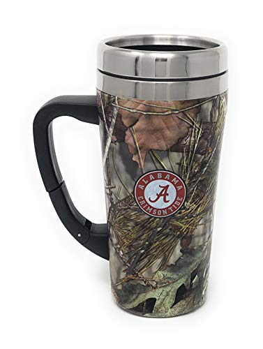 Alabama Roll Tide Stainless Steel Thermal Travel 16 Ounce Mug with Belt Clip Adjustable Handle Screw On Lid