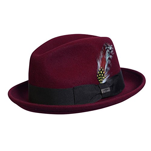 Red Hat Large Wool Brim (Conner Hats Unisex Detroit Wool Fedora, Burgundy, L)