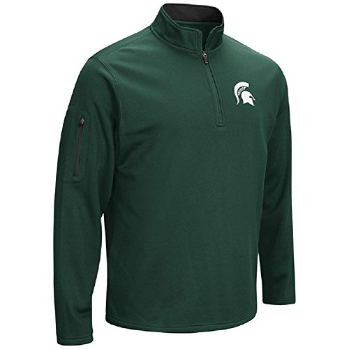 Colosseum Men's VF Poly Fleece 1/4 Zip Pullover-Michigan State Spartans-Green-Medium from Colosseum