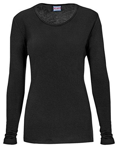 Cherokee Women's Classic Long Sleeve Knit Tee_Black_Medium