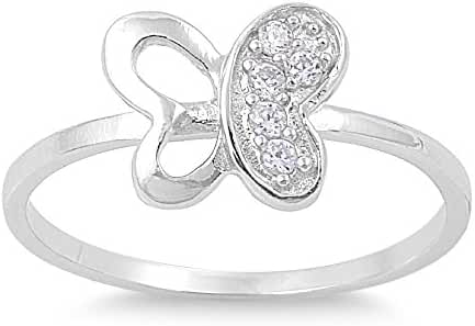 Clear Cubic Zirconia Butterfly Transformation Ring 925 Sterling Silver