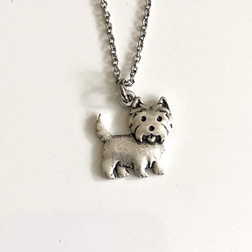 - West Highland Terrier Dog Necklace on Stainless Steel Chain - Dog Breed Jewelry - Westie Mom Gift