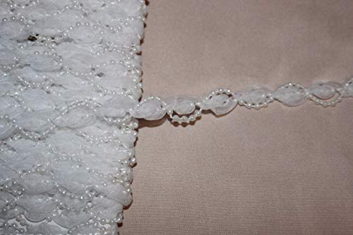 (1 Yard Solid White Organza Rosebud Pearl Sewing Doll Craft Trim 3/8 Wide w5)
