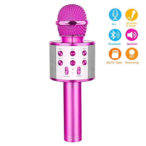 Birthday Gifts for 4-12 Year Old Girls, Touber Wireless Karaoke Microphone Toys for 6-12 Year Old Girls Kids Birthday Party Gift for Girls Age 4-12 (Birthday Party For 12 Yr Old Girl)