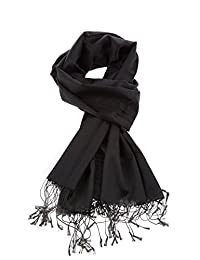 Luxury Silk Pashmina Scarf | Silky Soft Elegant Wrap | Stylish Solid Colors Unisex Men Women| Vegan Hypoallergenic Quality (Black)
