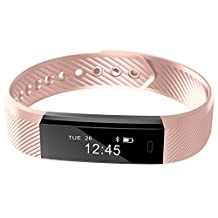 REDGO Wireless Activity and Sleep Monitor Pedometer Smart Fitness Tracker Wristband Watch Bracelet for Men Women Boys Girls Ladies Man iPhone 6 Plus 5S 5C 5 4S, Galaxy S6 S5 S4 S3, Note 6 5 4 Pink