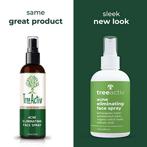 TreeActiv Acne Eliminating Face Spray, Salicylic Acid Spray for Hormonal Acne, Cystic Acne Spot Treatment, 4 fl oz (118 ml)