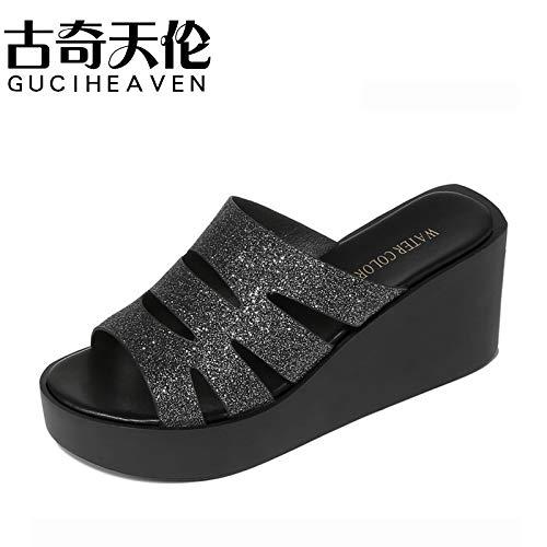 GTVERNH Frauen Schuhe Frauen - Pantoffeln Steigung Heels 7Cm High Heels Sommer Mode Schuhe Tragen Frauen