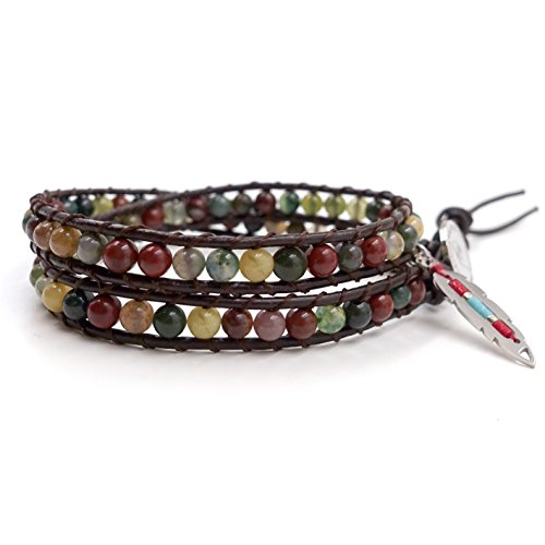 2 Wrap Leather Bracelet Leaf Choker Necklace - Hot Mix - Inida Agate Beaded Stainless Steel - Indian Beaded Bracelets Men For
