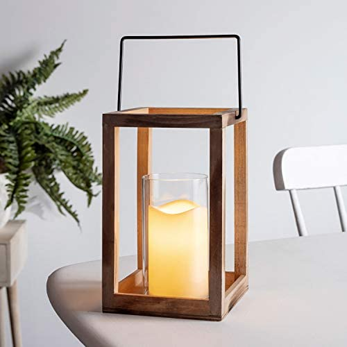 Lights4fun, Inc. 9.5 Wooden Battery Operated Indoor LED Flameless Candle Lantern with Glass Candle Holder