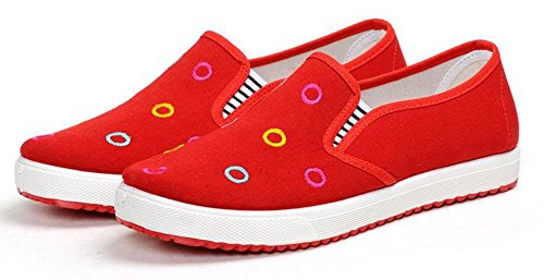 Ein bißchen Damen low-Top Herbst Frühling Canvas low-top casual Mode Slipper Mokassins Rot