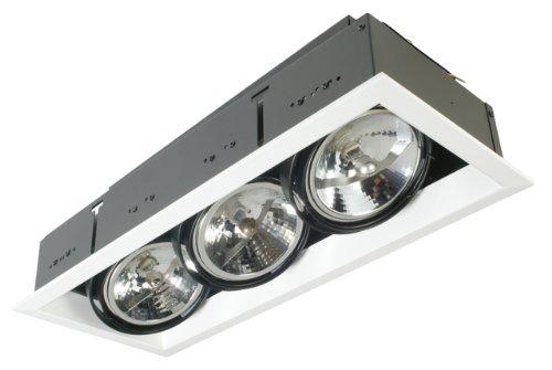 Eurofase TE103TR-0N 3-Light AR111 Recessed Mutiple Strip Trim with 0084B3 Transformer, Platinum Eurofase Platinum Trim