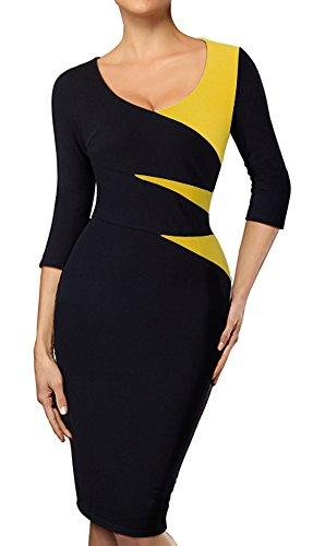 HOMEYEE Women's Elegant Chic Formal 3/4 Sleeve Sheath Business Career Dress B346 (12, Yellow + Black)