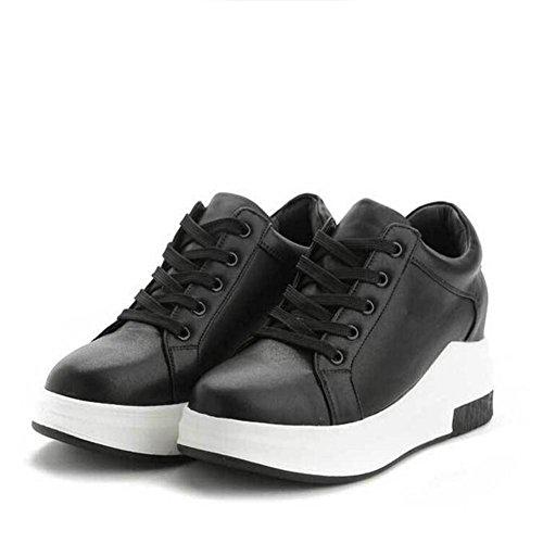 L@YC Femmes Chaussures plates au printemps Chaussures de sport accrues de loisirs Lacets , black , 36