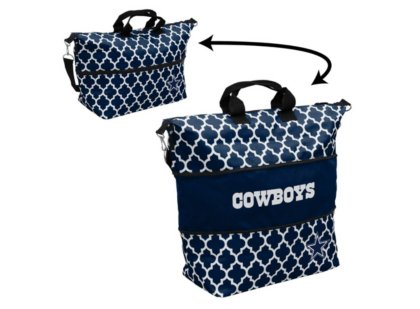 Logo Brands NFL Dallas Cowboys Quatrefoil Expandable Quatrefoil Expandable Tote, Navy, One Size