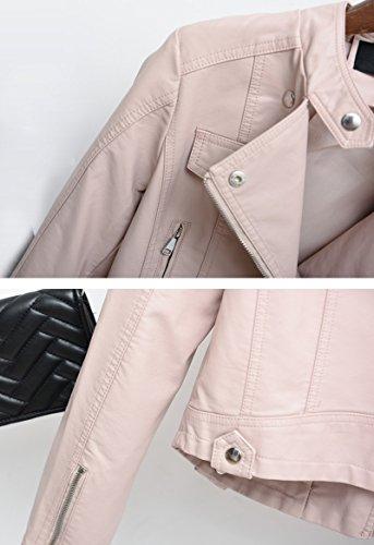 Pu In Moto Lunghe Biker Corta Cappotto Pink Bomber Maniche Invernale Giacche Donna Pelle wERqAdA