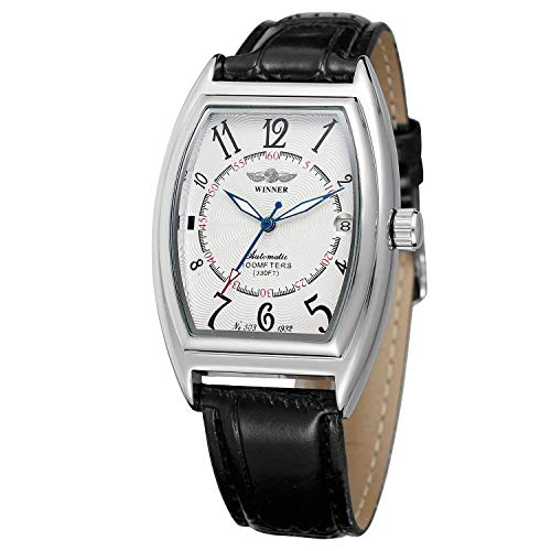 Men's Automatic Watch Top Luxury Brand Date Function Tonneau Shape Fashion Leather Watch