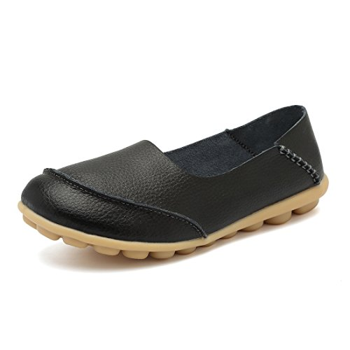 KISFLY Women Leather Driving Black Loafers Size 10.5 Lightweight Rubber Sole Casual Flats Footwear Shoes