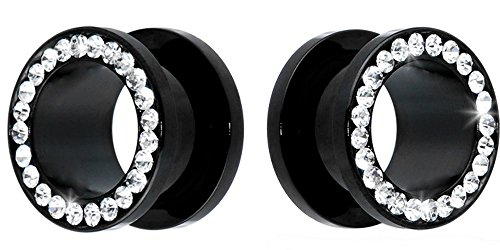 SoScene Black Titanium Clear Crystal Gems Screw Back Ear Plugs Gauges Sold in Pairs (25MM 1 INCH) (Black Gem Titanium)