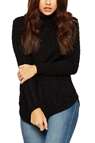 Hand Knit Wool Sweater - Viottis Women's Wool Blending Turtleneck Cable Knit Pullover Sweater Black M