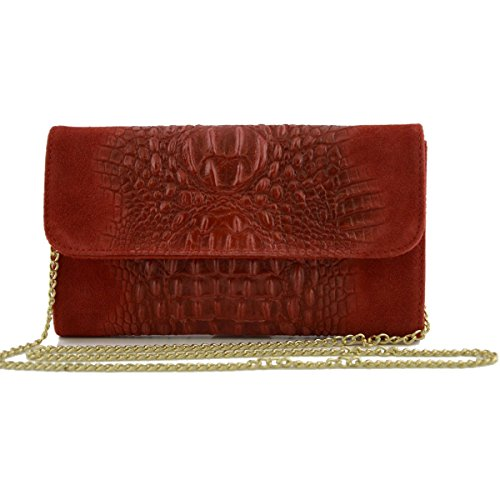 Italy Genuine Crocodile Woman In Red Bag Leather Woman Tuscan Printed Color Leather Clutch Made 5qpaw