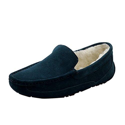 Caloroso Da Scarpe Blu Unisex Foderato scuro YiJee Scarpe Casual Comode Barca Mocassini Loafers qFF10SO