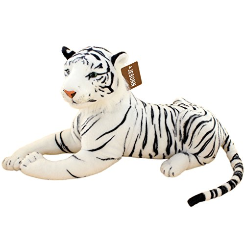 JESONN Realistic Stuffed Animals Tiger Toys Plush (White, 18.9 Inch)
