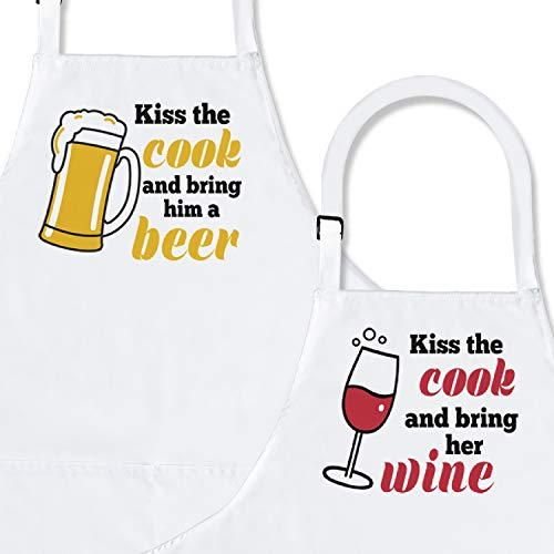 Kiss The Cook  2-Piece Kitchen Apron Set | Matching Engagement Wedding Anniversary Bridal Shower Gift for Bride | Wedding Gifts for The Couple Unique | Newly Married Presents