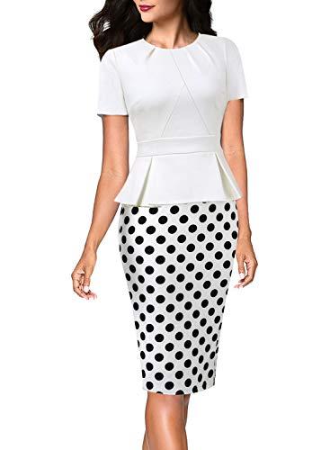 VFSHOW Womens Off White and Black Big Polka Dot Print Pleated Crew Neck Peplum Work Business Office Church Bodycon Pencil Sheath Dress 3231 WHT XXL