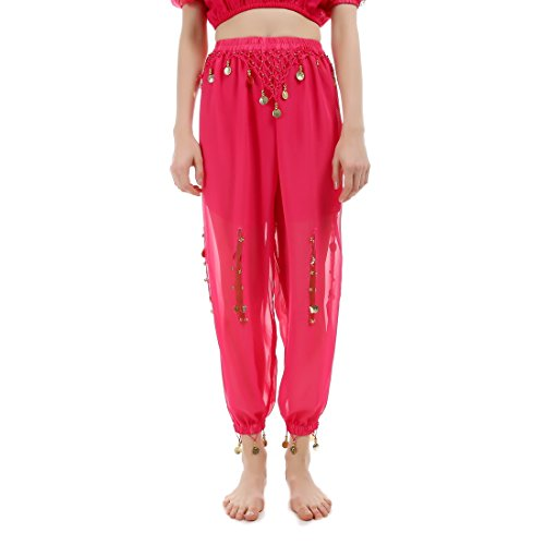 JEANSWSB Belly Dance Bloomers with Coins 120D Chiffon Pants Adult (Pink Indian Sari Adult Costume)