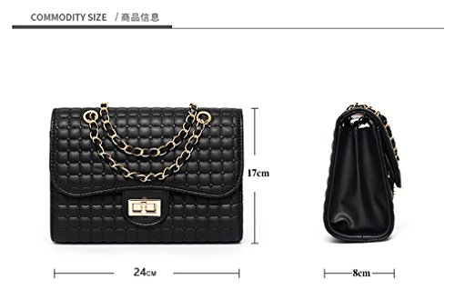 Women Bag Black Messenger Bags Handbag Bags Evening Black Diamond Chain Lattice Shoulder qTpFqWSR