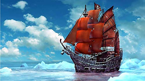 Whjkl Adults' Paint-by-Number Kits DIY Diamond Mosaic Landscape Pirate Ship DIY 5D Diamond Painting Cross Stitch Red Sailboat Mosaic Drawings Diamond Embroidery (Mosaic Sailboat)