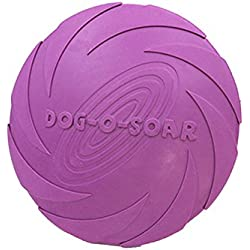 MACRHEE--Silicone Pet Dog Frisbee Flying Disc Toy for Outdoor Large Dog Fetch Training (L, purple)