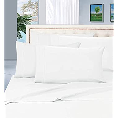#1 Rated Best Seller Luxurious Bed Sheets Set on Amazon! Elegant Comfort® 1500 Thread Count Wrinkle,Fade and Stain Resistant 4-Piece Bed Sheet set, Deep Pocket, HypoAllergenic - Queen White