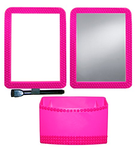 Magnetic Locker Box - Inkology Color Rush Rhinestone 3 Piece Magnetic Locker Accessory Set, Hot Pink (345-8)