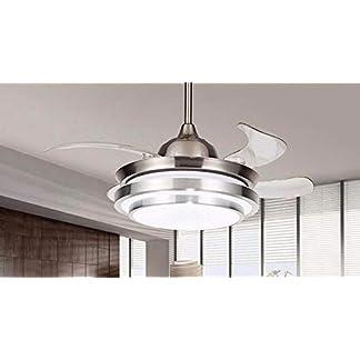 Lampadario ventilatore stile americano, argento bianco, ventilatore a soffitto con luce con soggiorno invisibile Camera da letto Lampadario con ventilatore luce bianca telecomando 36 W diametro 107 cm
