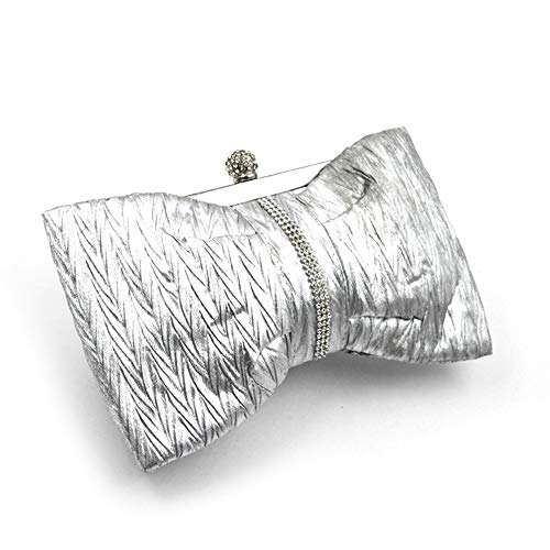 JBAG-one Women Evening Bag, Satin Clutch Bag, Bow Purse,Handbag for Party,Chain Small Bag,Silver